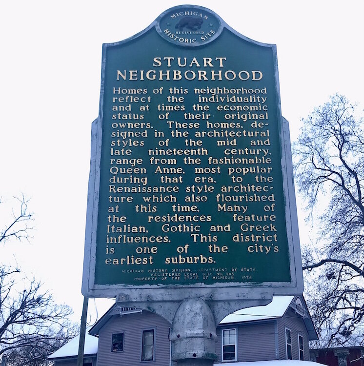 This historic marker calls attention to some of the architectural styles that were used in the Stuart Neighborhood during the 19th and early 20th century.