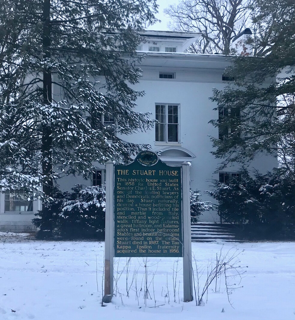 Although it seems less grand on a snowy winter afternoon, the Charles E. Stuart House, built in 1858 and located on a street of the same name, had posh features such as an observatory and six rooms on each floor. It may have also been the first house