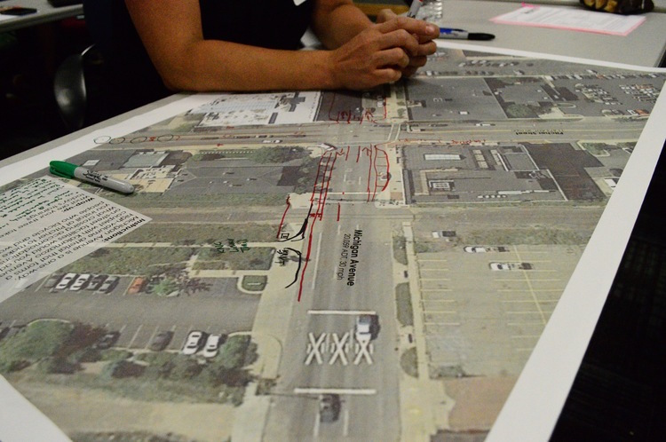 Training Wheels workgroup trying to solve problems with Michigan Avenue/Pitcher Street intersection.