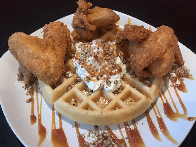The Maple Pecan Waffle and Chicken is highlighted by its homemade caramel made with maple syrup.