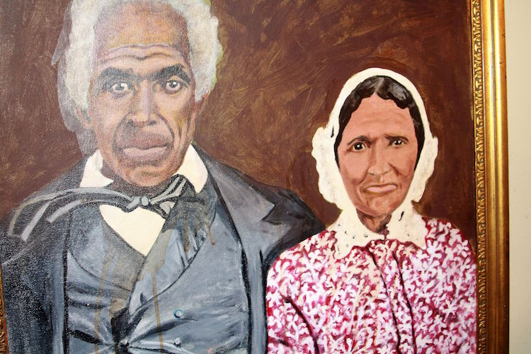 Oshtemo's first black settlers Enoch and Deborah Harris.