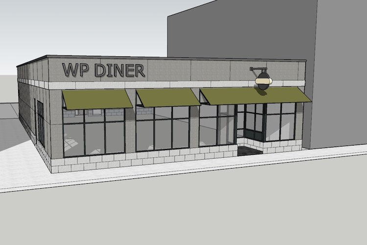 An architect's rendering of the former Kalamazoo Color Lab building at 1324 Portage St. will soon house a new neighborhood diner to be called W/P Diner @ Washington Square.