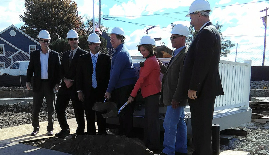 Community Foundation President Randy Maiers, Marine City Mayor Ray Skotarczyk, MEDC representative, hotel owners Tom and Kathy Vertin, St. Clair County Commissioner Bill Gratopp and EDA CEO Dan Casey attended the groundbreaking ceremony at the site o