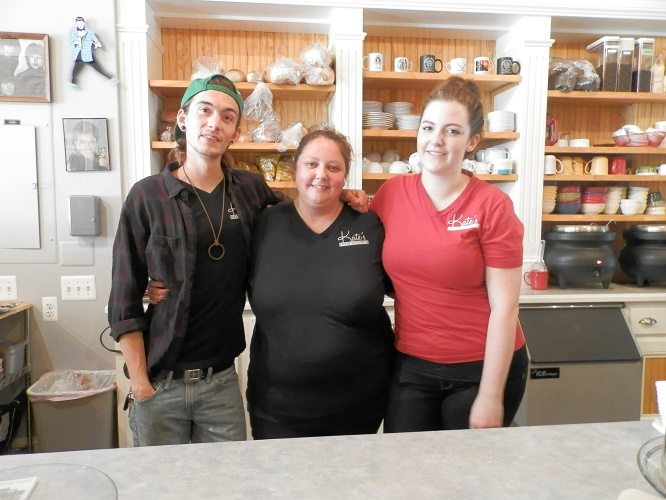 The crew at Kate's Downtown: Stefan  Nisbett, Kate Voss (owner) and Kaitlynn Wiegand.