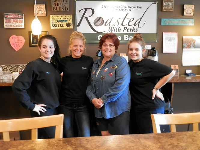 Roasted with Perks baristas Mia Westrick, Blair Richards, Taylor Toles and co-owner Anne Thueme.