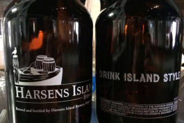 Growlers of beer at Harsens Island Brewery.