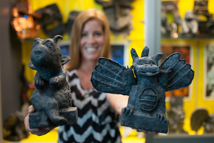 Student made gargoyles are among the art pieces on display at Art In The Park.