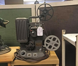 Antique enthusiasts can find many great pieces, like this projector at Back Porch Antiques.