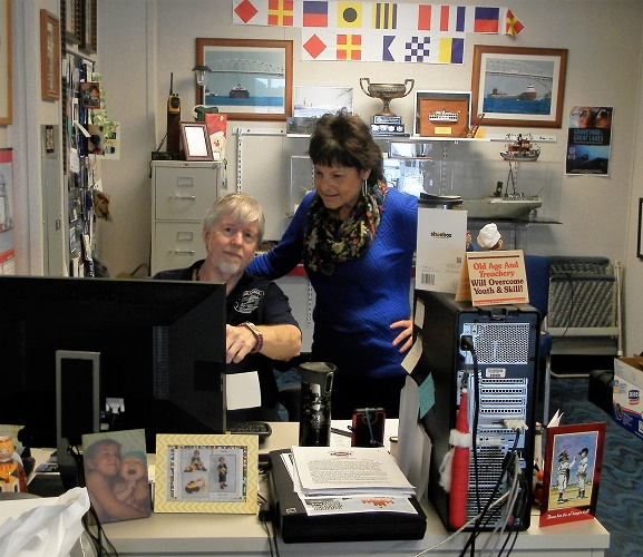 Frisk uses a tracking device called an Automatic Identification System for identifying and locating vessels by electronically exchanging data with other nearby ships.  Pictured are Frisk and Keel editor Jeri Packer