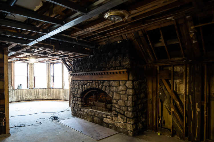 Old details, like this fireplace, will accompany modern amenities at the renovated hotel.