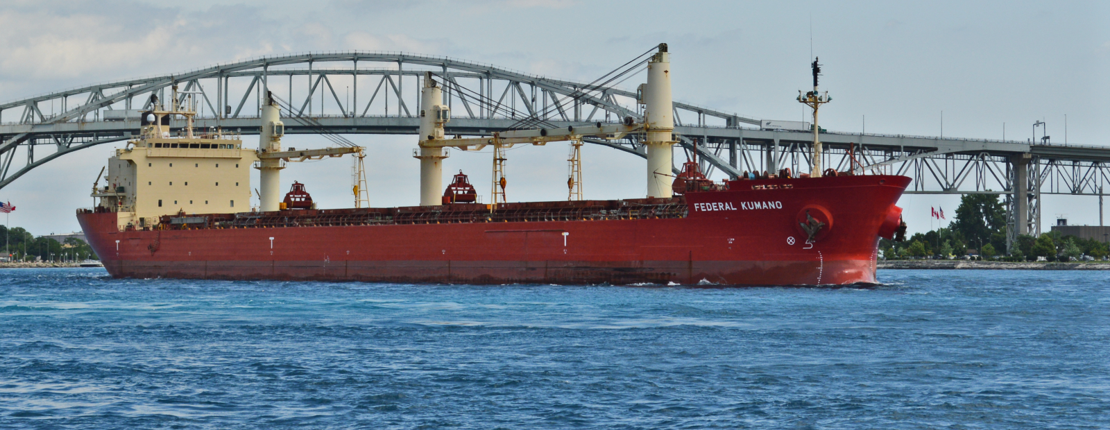 The Federal Kumano heads toward Port Huron on a sunny, summer afternoon