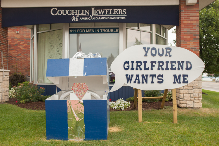 Coughlin Jewelers created an extra special block, featuring an engagement ring.