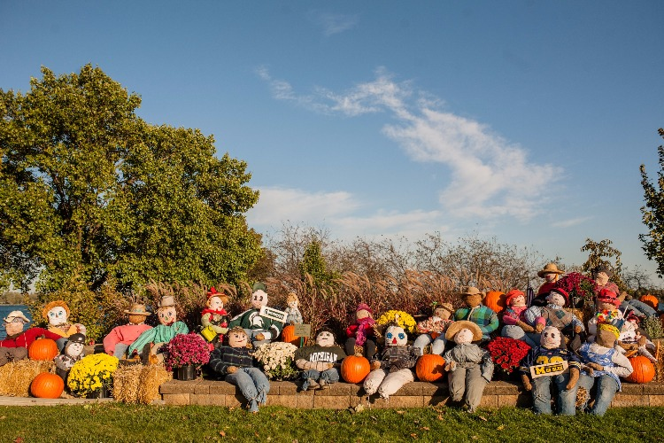 Scarecrows adorn the landscape at Palmer Park in St. Clair