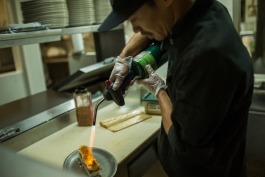 A chef prepares sushi at Blackfish.