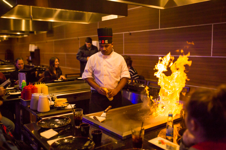 Flaming food is part of the experience at Tokyo.