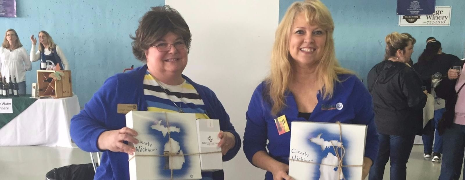 Denise Horvath and Tina Frazier show off Eastern Michigan Makers Boxes <span class='image-credits'>Courtesy of St. Clair County Economic Development Alliance</span>
