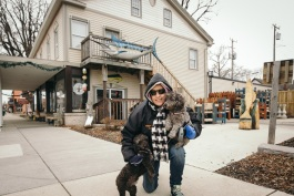 Penny Rose-Gray enjoys walking her dogs in downtown Marine City.