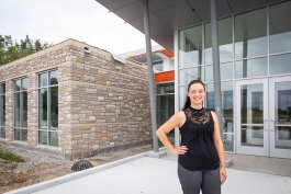 Deputy Treasurer Jessica LaFore stands outside Marysville's new city building.