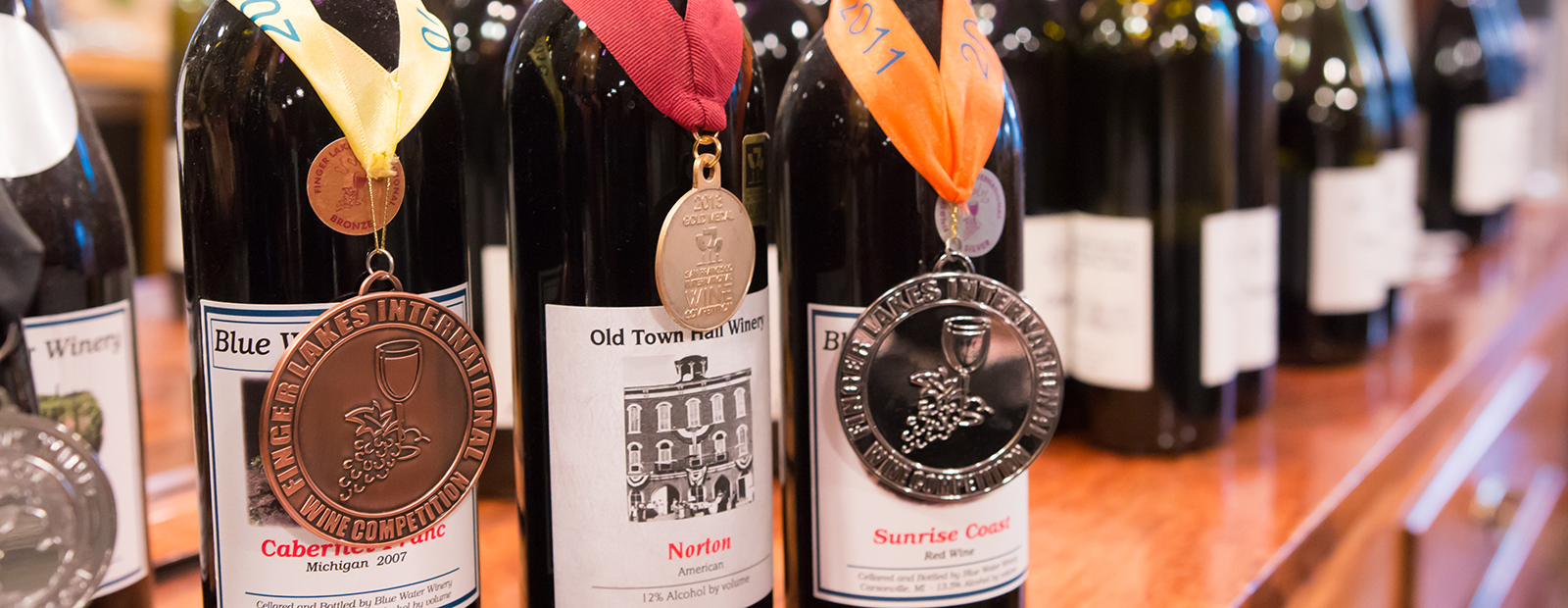 Award-wining Blue Water Winery wines. <span class='image-credits'>Chamira Young</span>
