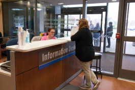 Greeters are in place to assist patients and visitors at the hospital during construction.