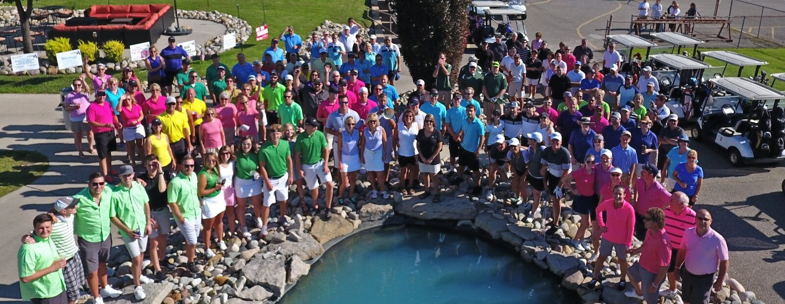 A rainbow of colors shows support for cancer patients at the Tee It Up golf outing.
