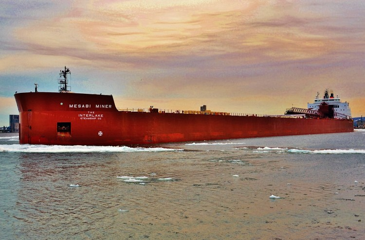 "Mesabi Miner is a ""super carrier,"" one of thirteen 1,000-footers. (Photo by Frank Frisk)"