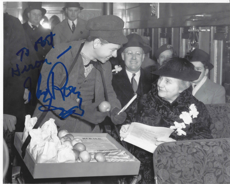 "This photo of actor Mickey Rooney and was taken on the train (at the Depot) in 1940 reenacting the ""News Butcher"" scene from the movie, ""Young Tom Edison"" which premiered in Port Huron./Courtesy Port Huron Museum"