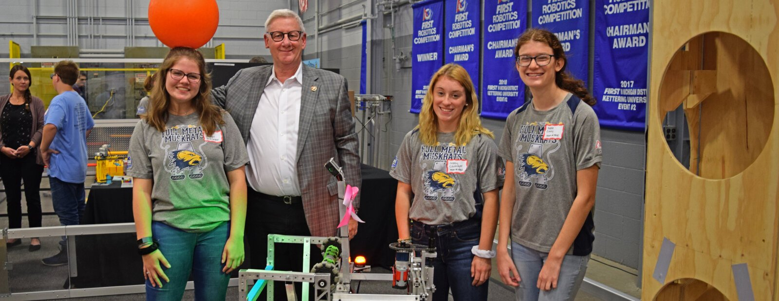 Robotics teams show off their skills in their new practice facility.