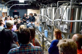 Kris Paul, founder of War Water Brewery, took the group on a tour of his operation.