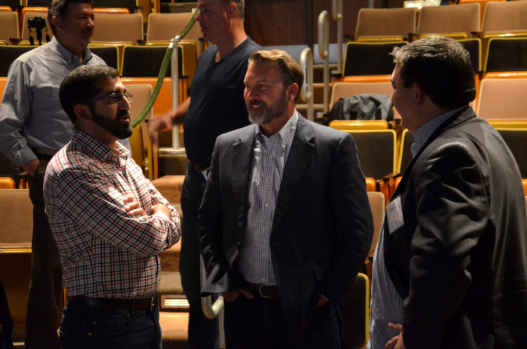 Paul Singh talks with Sen. Phil Pavlov and Kevin Hrit./Courtesy Anson Pavlov/Finch Multimedia