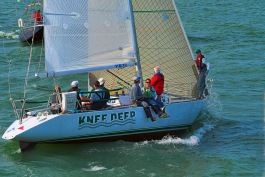 Evan Wilkins and crew aboard Knee Deep.