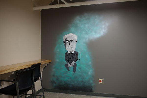 Thomas Edison is featured on one of the murals at The Underground.