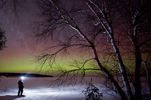 The aurora makes an appearance over Munising Bay