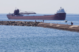 Freighter arriving Marquette Upper Harbor