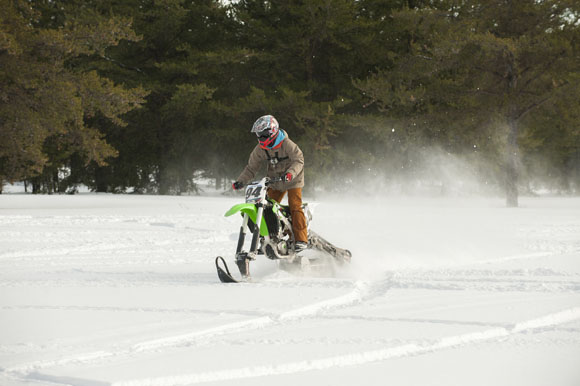 Dirt bikes can be turned into snow bikes for winter