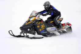 A participant in the Clean Snowmobile Challenge.