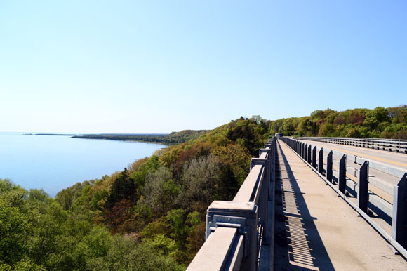 A view of Lake Michigan from the Cut River Bridge.