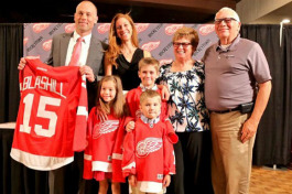 Red Wings coach Jeff Blashill, his wife, Erica, his mother, Rosemary, father, Jim, and children Teddy, Josie and Owen.