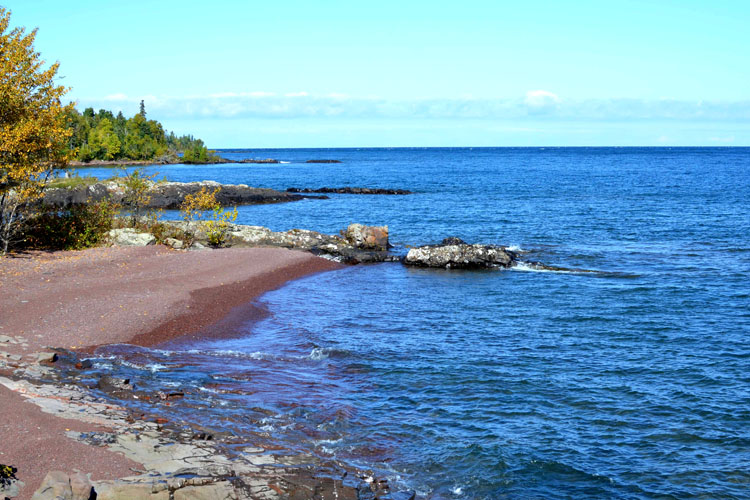 A view of Lake Superior along the Keweenaw Point Trail, near High Rock Bay.