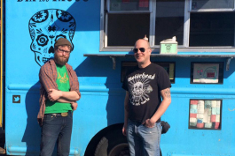Mike Walker, right, and Dia de los Tacos employee Chris, left.
