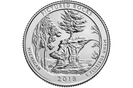 The reverse of the new Pictured Rocks quarter.